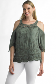 Tempo Paris 5288 Cold Shoulder Top Olive