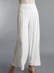 Tempo Paris 11211SO Flowy Silk Blend Pants White
