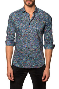 Jared Lang Button Down Shirt Monet Blue