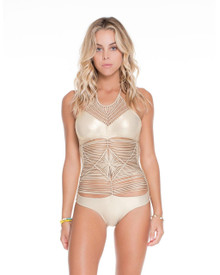 Luli Fama Heart of a Hippie Weave One piece Swimsuit Gold Rush