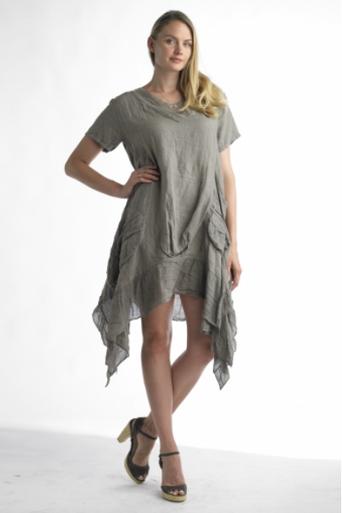 Tempo Paris Linen Tunic Dress 8704 Taupe