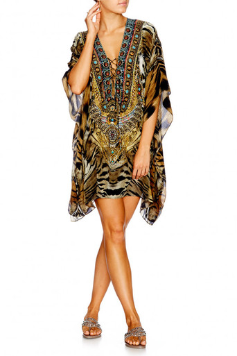 Camilla Given To The Wild Short Lace Up Kaftan