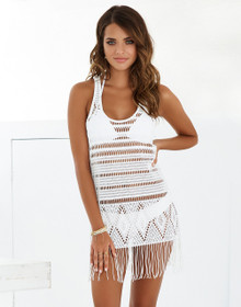 Beach Bunny Swimwear Desert Dreamer Fringe Dress White