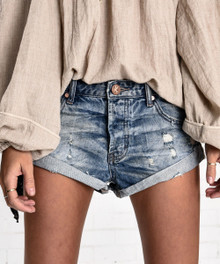 One Teaspoon Cutoff Shorts Blue Buoy Bandits