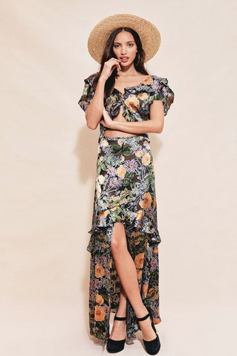 For Love and Lemons Luciana Maxi Dress Black Floral