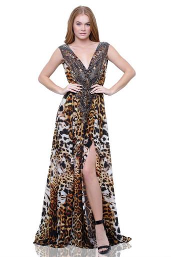 Shahida Parides Animal Print Long Dress Port