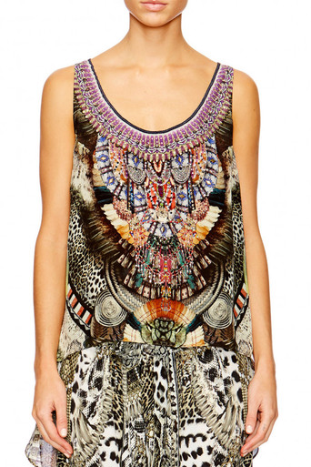 Camilla Light My Fire Scoop Neck Top with Long Back