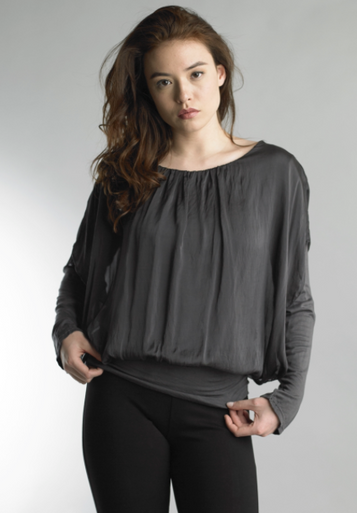 Tempo Paris 7662HA Silk and Knit Kimono Top Gray
