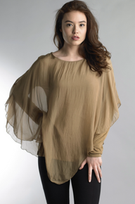 Tempo Paris 16982Y Long Sleeve Draped Overlay Cognac