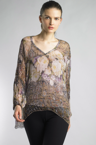 Tempo Paris 258JA Silk Print Top Mauve