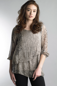 Tempo Paris 216190BL Silk Top Taupe