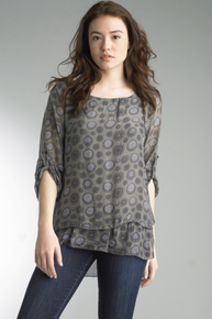Tempo Paris 6363MG Silk Print Top Taupe