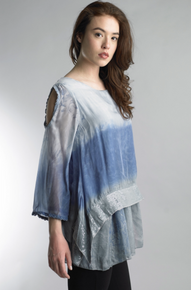 Tempo Paris 16518JA Dip Dye Cold Shoulder Top Denim