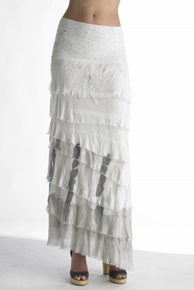 Tempo Paris 9608 Dip Dye Silk Jersey Maxi Skirt Grey