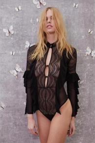 Skivvies by For Love and Lemons Eva Lace Ruffle Bodysuit