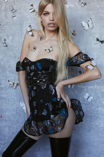 For Love and Lemons Botanic Strapless Dress Black Floral