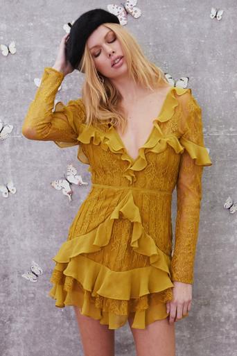 For Love and Lemons Daphne Lace Mini Dress Dark Goldenrod