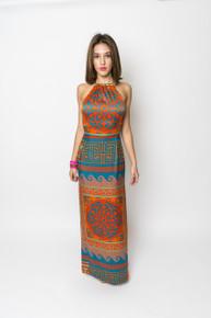 Trisha Paterson Silk Stretch Dress Venus Orange Blue 1A