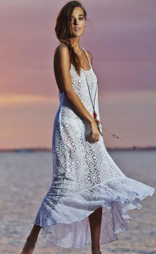 PilyQ Water Lily Harper Lace Dress White
