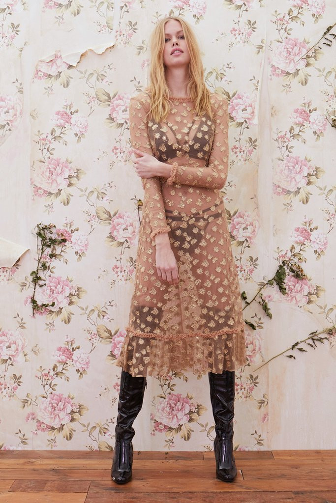 be25bb5a09 For Love and Lemons Golden Garden Tulle Midi Dress Gold. See 2 more pictures