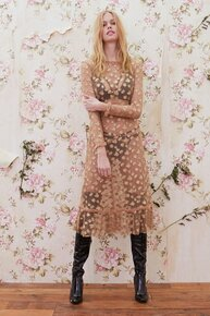 For Love and Lemons Golden Garden Tulle Midi Dress Gold