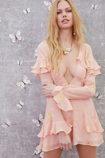 For Love and Lemons Gilded Star Mini Dress Rose Gold