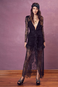 For Love and Lemons Daisy Lace Midi Dress Black