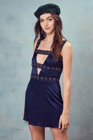 For Love and Lemons Opal Beaded Mini Dress Navy Diamond
