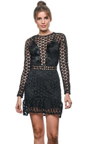Karina Grimaldi Sofia Lace Mini Dress Black Star