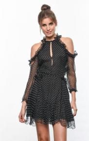 Karina Grimaldi Kimberly Silk Chiffon Mini Dress Black Polka Dot