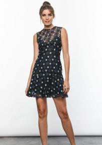 Karina Grimaldi Isabella Lace Mini Dress Blue Star