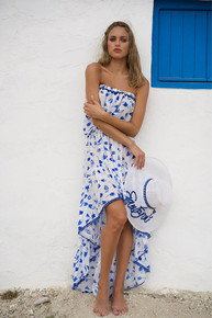 Jody Bell Strapless High Low Cotton Silk Dress Blue Print