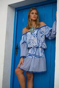 Jody Bell Off Shoulder Cotton Silk Dress Blue Print