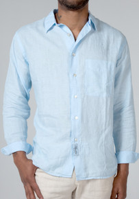 Claudio Milano Linen Relaxed Shirt 1005 Light Blue