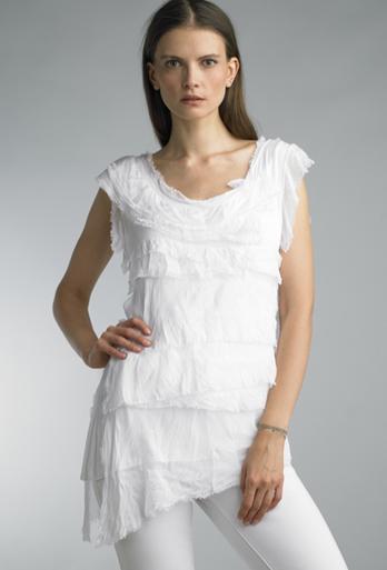 Tempo Paris 9577JA Sleeveless Tiered Silk Top White