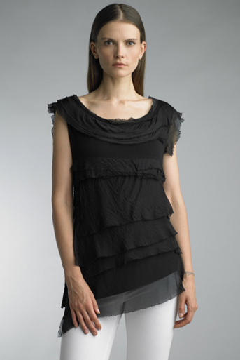 Tempo Paris 9577JA Sleeveless Tiered Silk Top Black