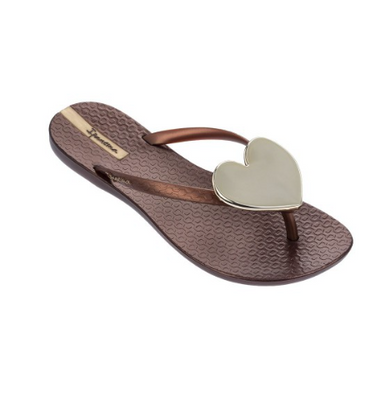 2018 Ipanema Wave Heart Flip Flop Bronze Gold