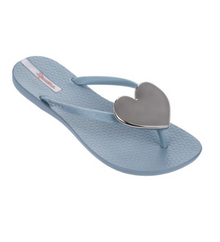 2018 Ipanema Wave Heart Flip Flop Grey Silver