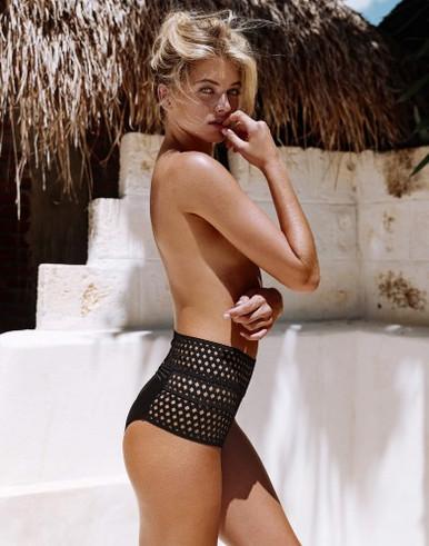 Beach Bunny Swimwear Hayden Bralette and High Waisted Bottom Bikini Set Black