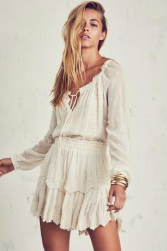 Love Shack Fancy Popover Dress Chariot Embroidery Cream