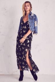 Love Shack Fancy Ruffle Slip Dress Black