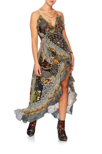 Camilla Behind Closed Doors Long Wrap Dress with Frills