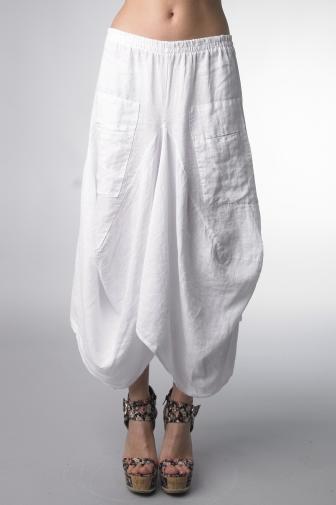 Tempo Paris Linen Skirt 712 White