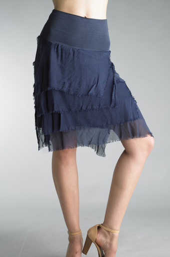 Tempo Paris 60899Q Short Silk Tiered Skirt Navy