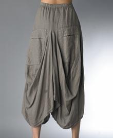 Tempo Paris Linen Skirt 712LA Taupe