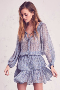 Love Shack Fancy Popover Dress Veranda Blue Silk