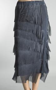Tempo Paris 6582SO Silk Angled Tiered Skirt Navy