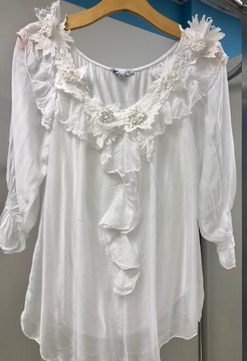 Tempo Paris 998J Flower Applique Silk Top White