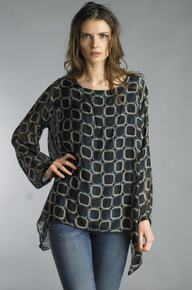 Tempo Paris 2153M Silk Print Poncho Top Navy
