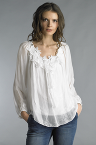 Tempo Paris 815J Flower Applique Silk Top Off White